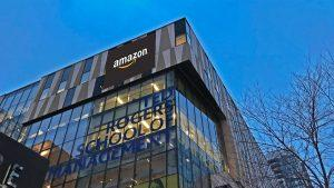 The Ted Rogers School of Management building with the amazon logo on the side