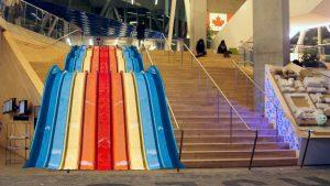 A photo of a staircase replaced with a slide.