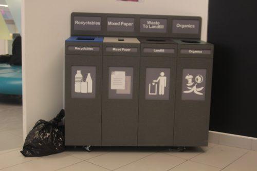 A four-stream waste bin in the Hub Café at Ryerson.