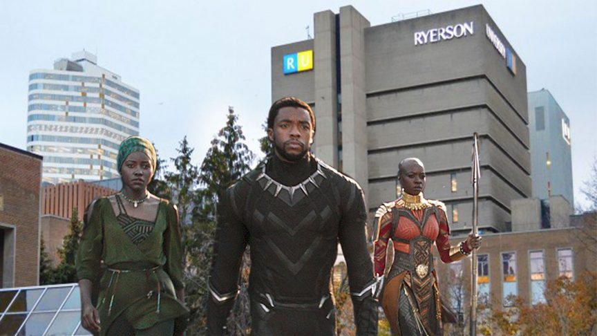 A photo illustration of Black Panther characters walking through Ryerson's campus.