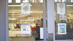 Glass doors with the Copyrite logo