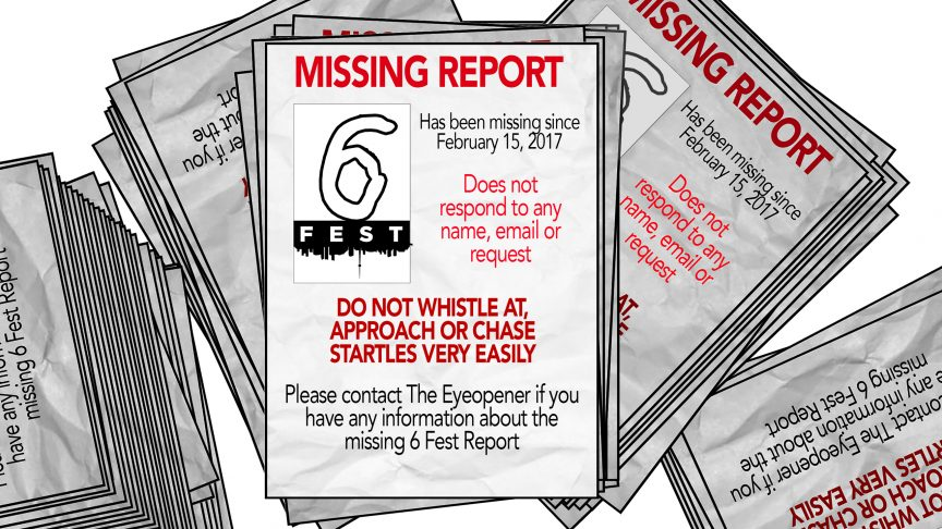 Illustrated missing posters for the 6 Fest report.