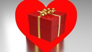 A gift shaped like a heart.