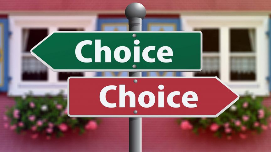 "Two signs with the word ""choice: on them, pointing in different directions."