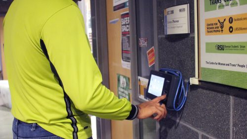 An employee uses the scanner.