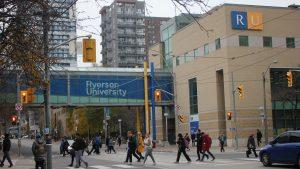 Ryerson students walk across campus.
