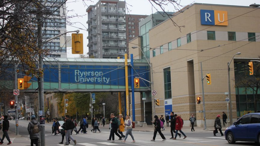 Ryerson students walk across campus.