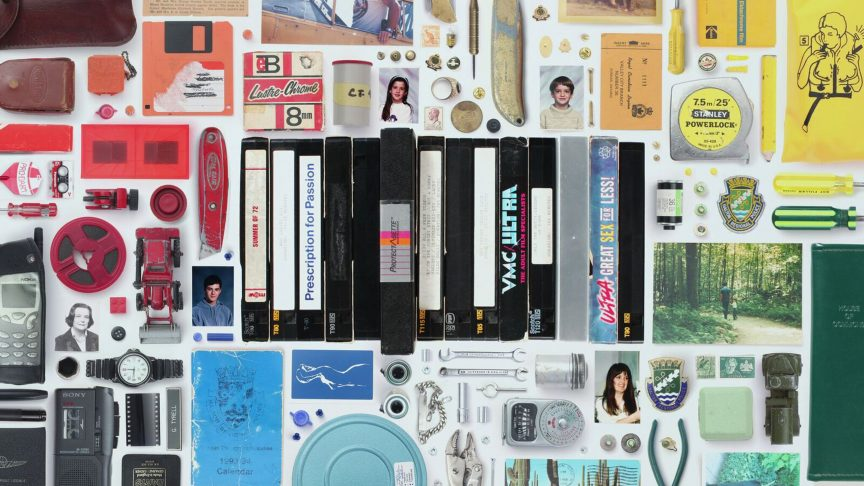 A still from Charlie Tyrell's documentary short My Dead Dad's Porno Tapes depicting some of the objects his father left behind