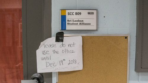 Student group offices in a SCC hallway were closed for ongoing mould treatment. Notices were placed asking students not to use them