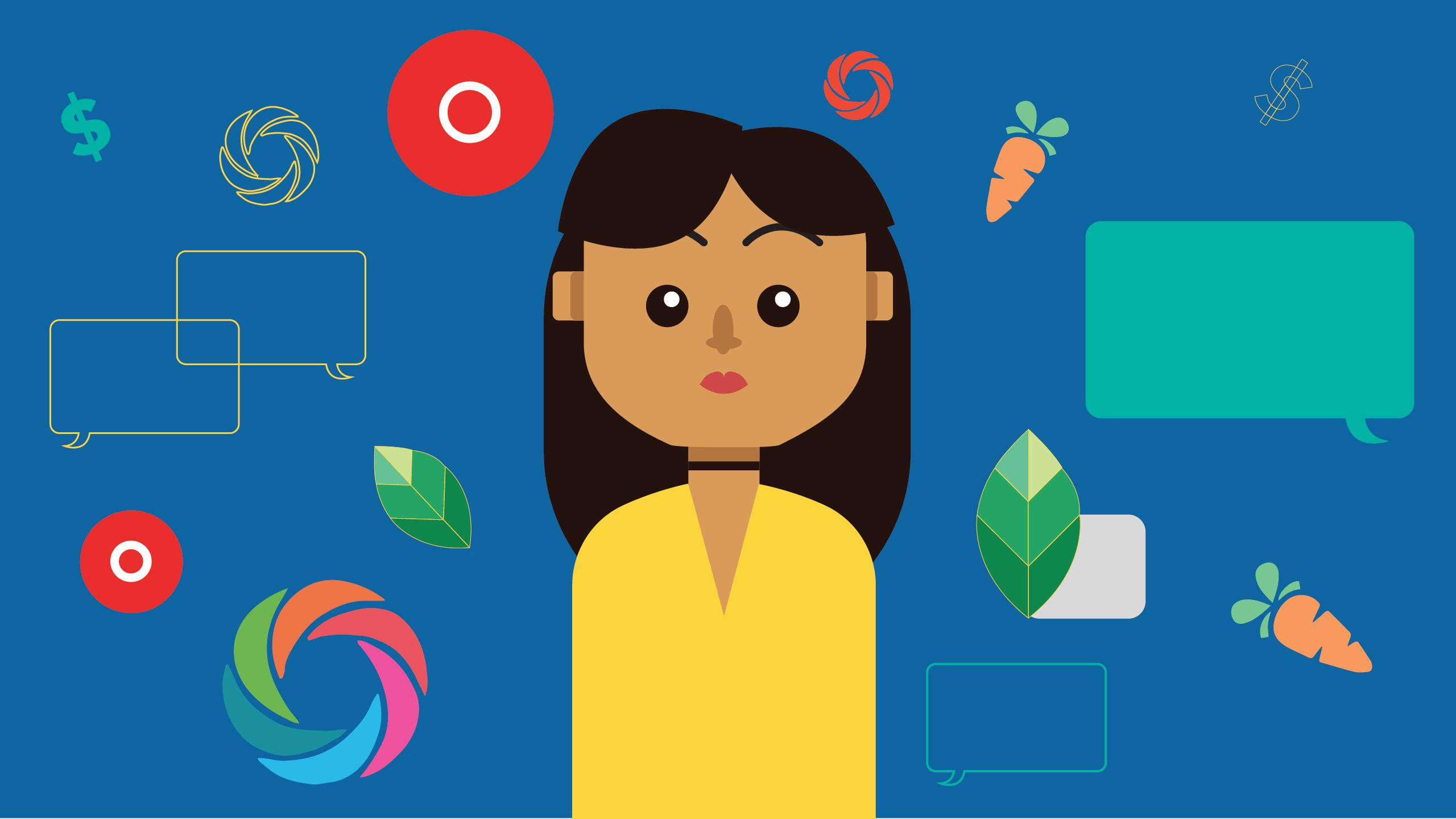 Girl surrounded by apps