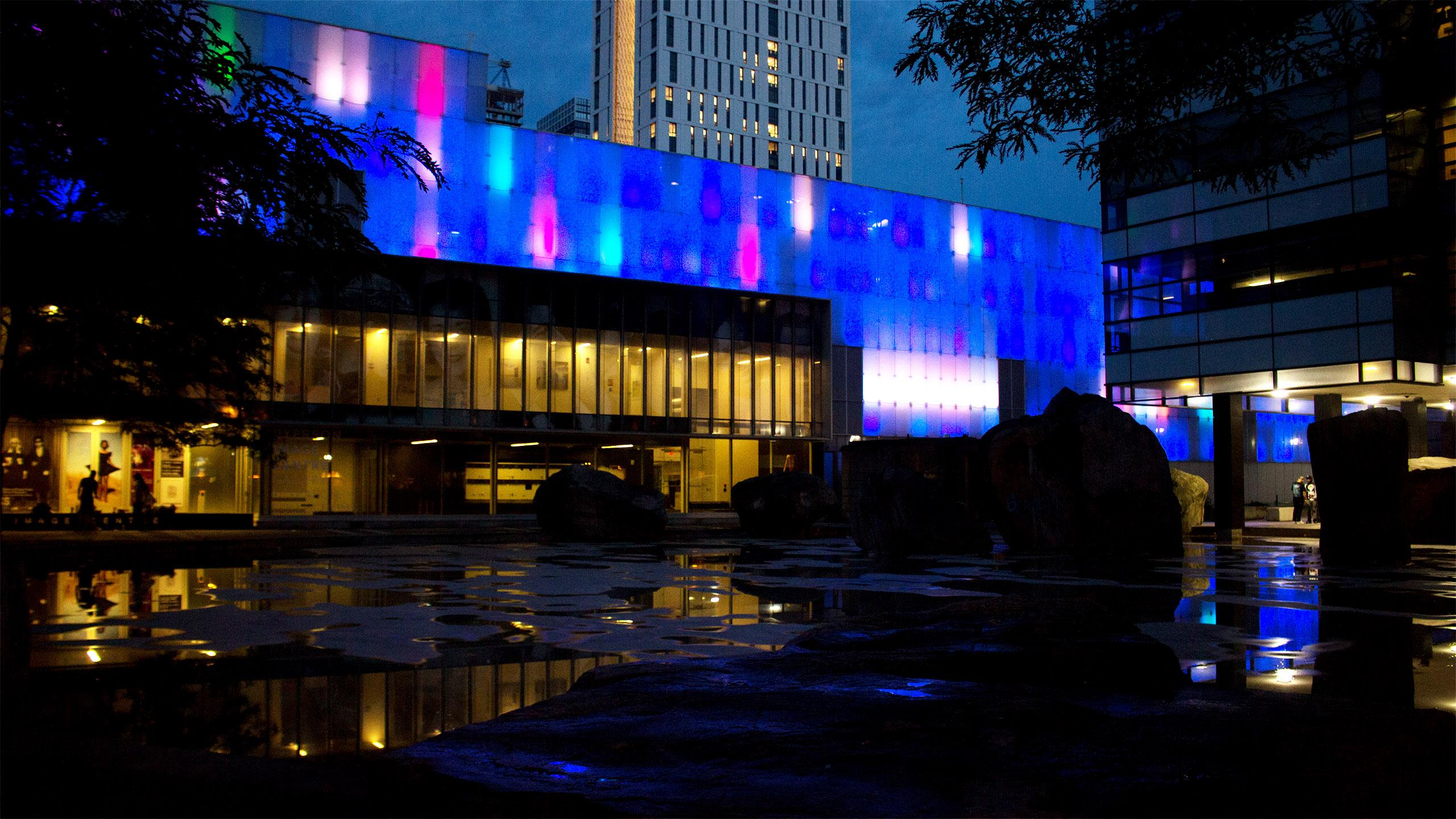 Picture of the IMA building at Ryerson University at night