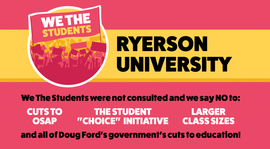 We The Students RU's Facebook banner, which lists cuts to OSAP, the Student Choice Initiative and larger classroom sizes as reasons to protest