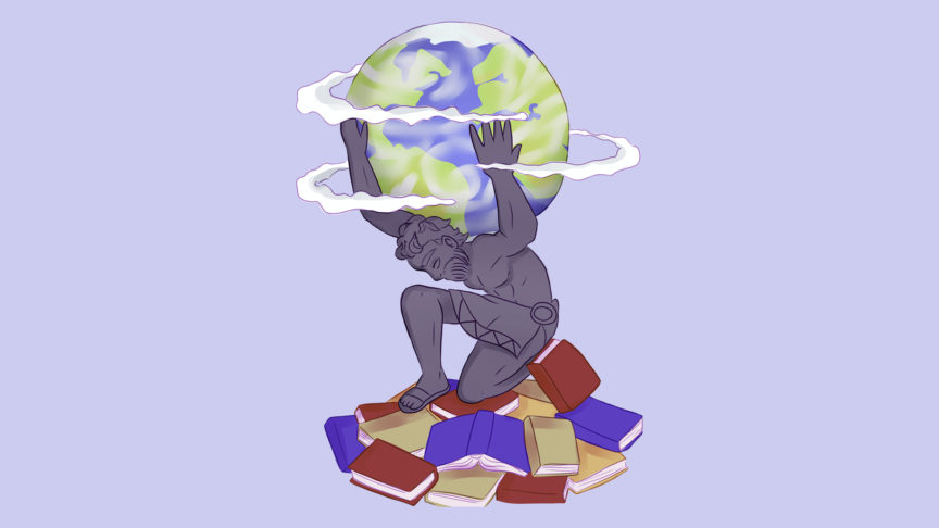 An illustration of Atlas knelling on a pile of textbooks holding up the world