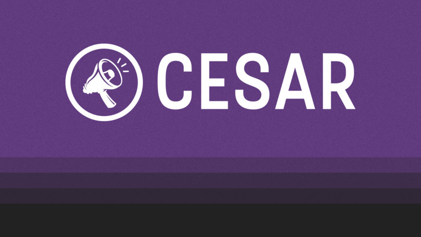 An illustration of the CESAR logo on a purple background