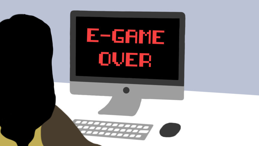 "An illustration of a girl sitting at a computer that says ""E-Game Over"" in 8-bit font"