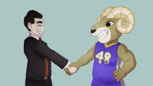 An illustration of the Ryerson mascot shaking hands with the mayor of Brampton