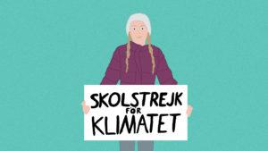 An illustration of young activist, Greta Thunberg holding up a protest sign