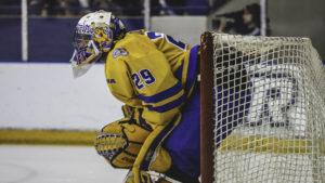 Photo of the male Ram's goalie in the net during the Ryerson homecoming game