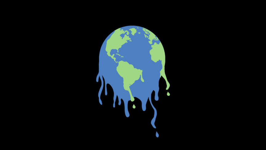 An illustration of a globe but it's melting