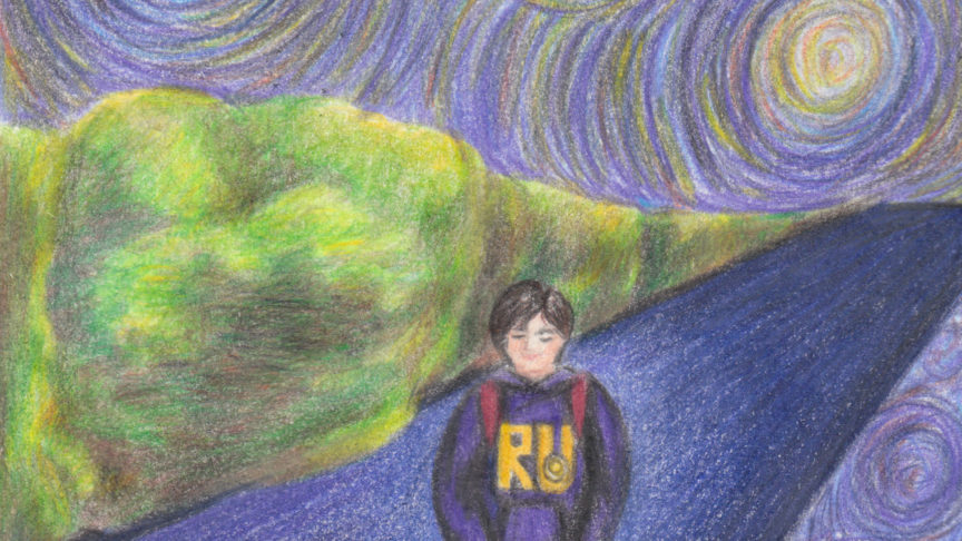An illustration of a student in a Ryerson sweatshirt walking down an empty street underneath a colourful sky reminiscent of Van Gogh's Starry Night