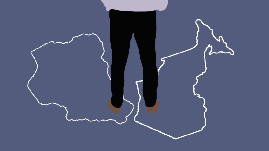 An illustration of a woman standing with one foot on Nigeria and one foot on Ontario