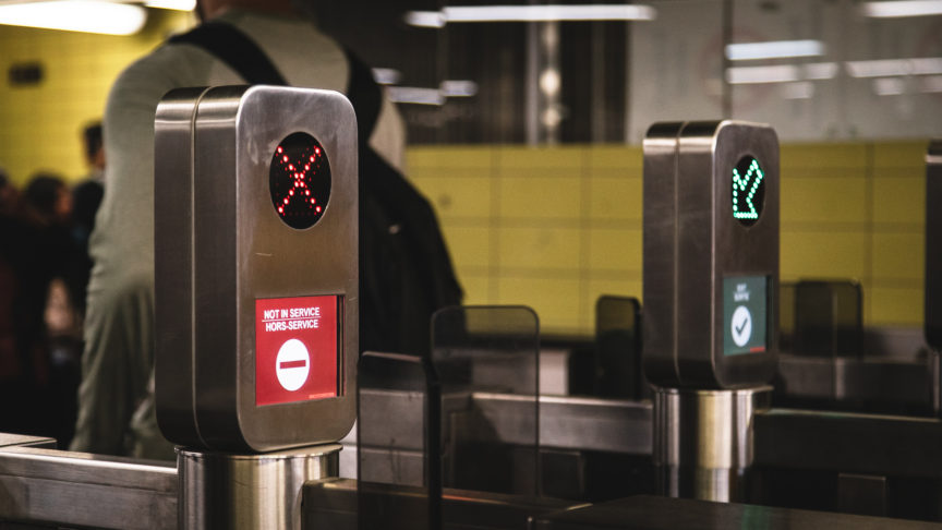 A photo of an out of service Presto machine in a TTCsubway station