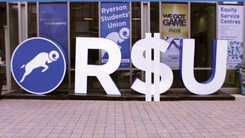 A photo of the RSU logo but the S is a dollar sign