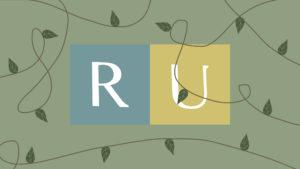 The 'RU' Ryerson logo but in more earth tones and with vines swirling around the photo