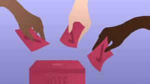 An illustration of 3 different hands adding voting ballots to a ballet box