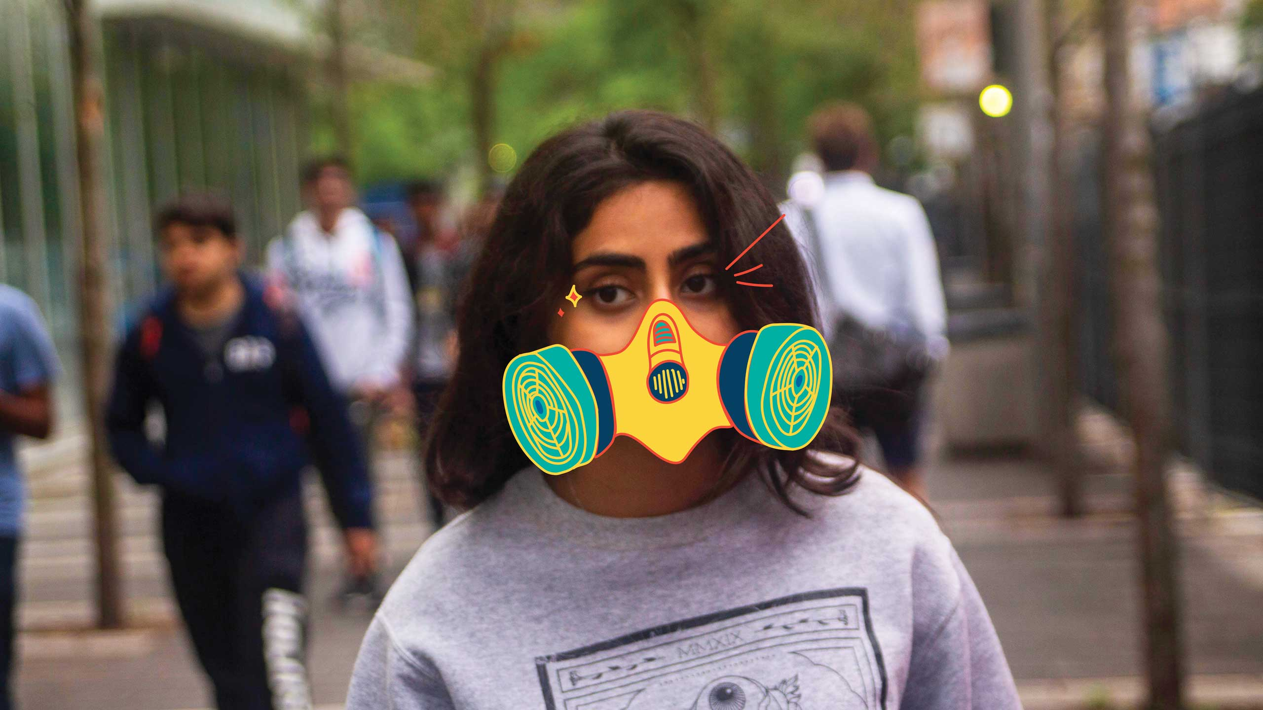 A photo of a female Ryerson student walking down Gould street with an illustrated gas mask over their mouth