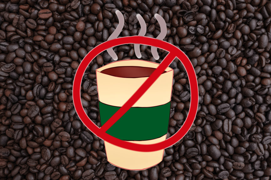 Coffee cup with cancelled sign on it