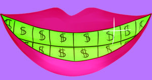 picture of mouth with green teeth and dollar signs