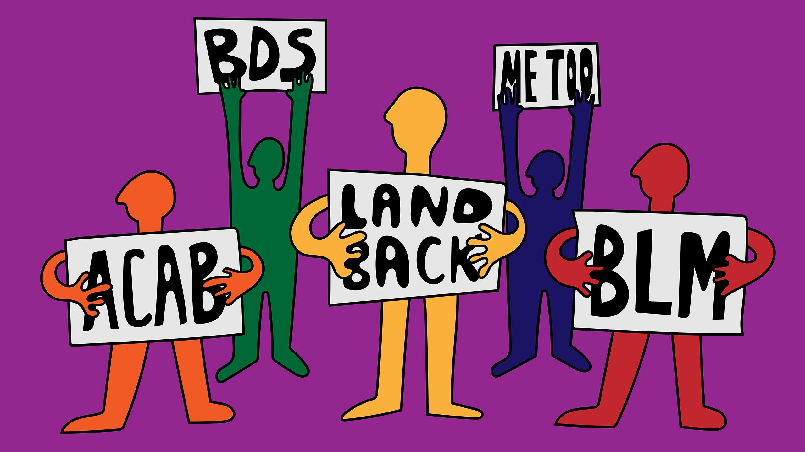 Illustration of five stick figures holding protest signs that say ACAB, BDS, land back, me too, and BLM.