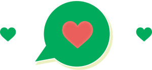 There are two green hearts on either side of a green message bubble with a red heart inside it. The message bubble has a light green shadow.
