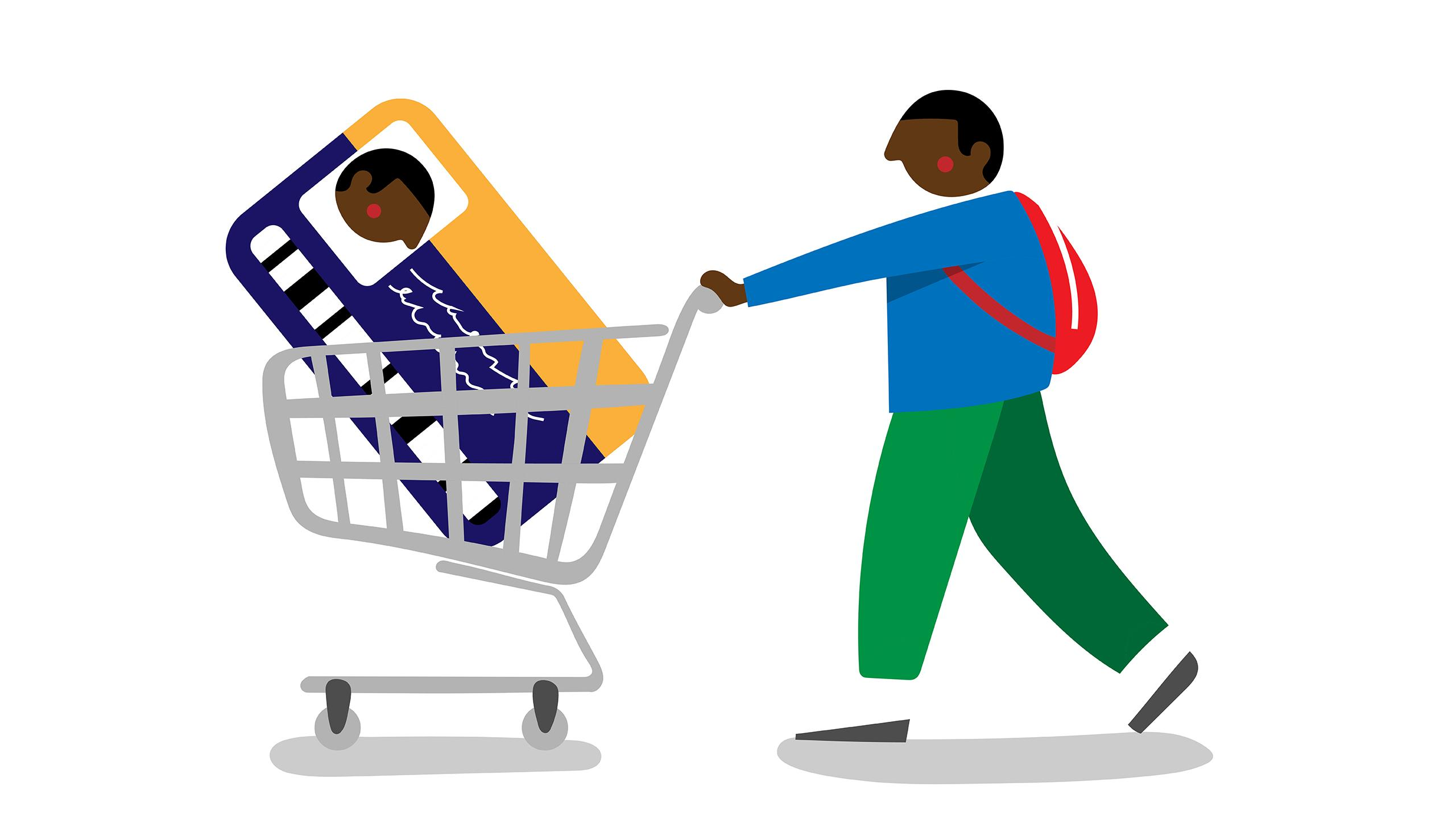 Illustration of a man wearing a backpack and pushing a shopping cart with a OneCard in it.