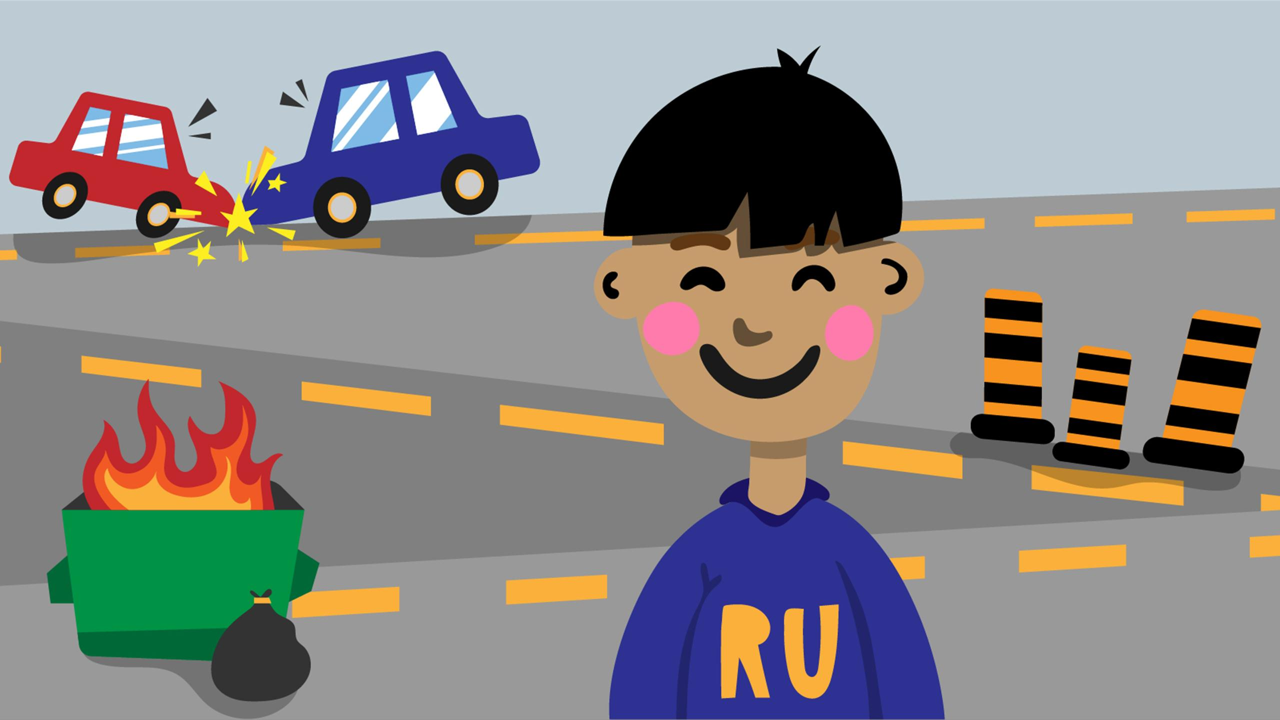 Illustration of a guy smiling and wearing a Ryerson sweater. In the background is a dumpster fire, construction pylons, and a car crash.