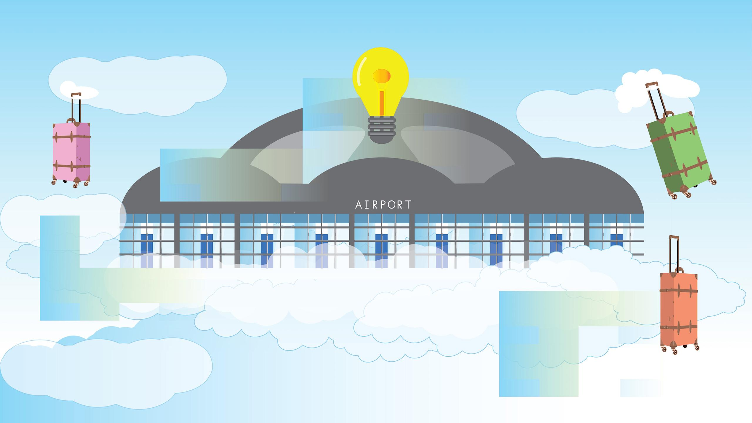 Illustration of an airport floating on a cloud with an idea lightbulb and floating baggage around it.