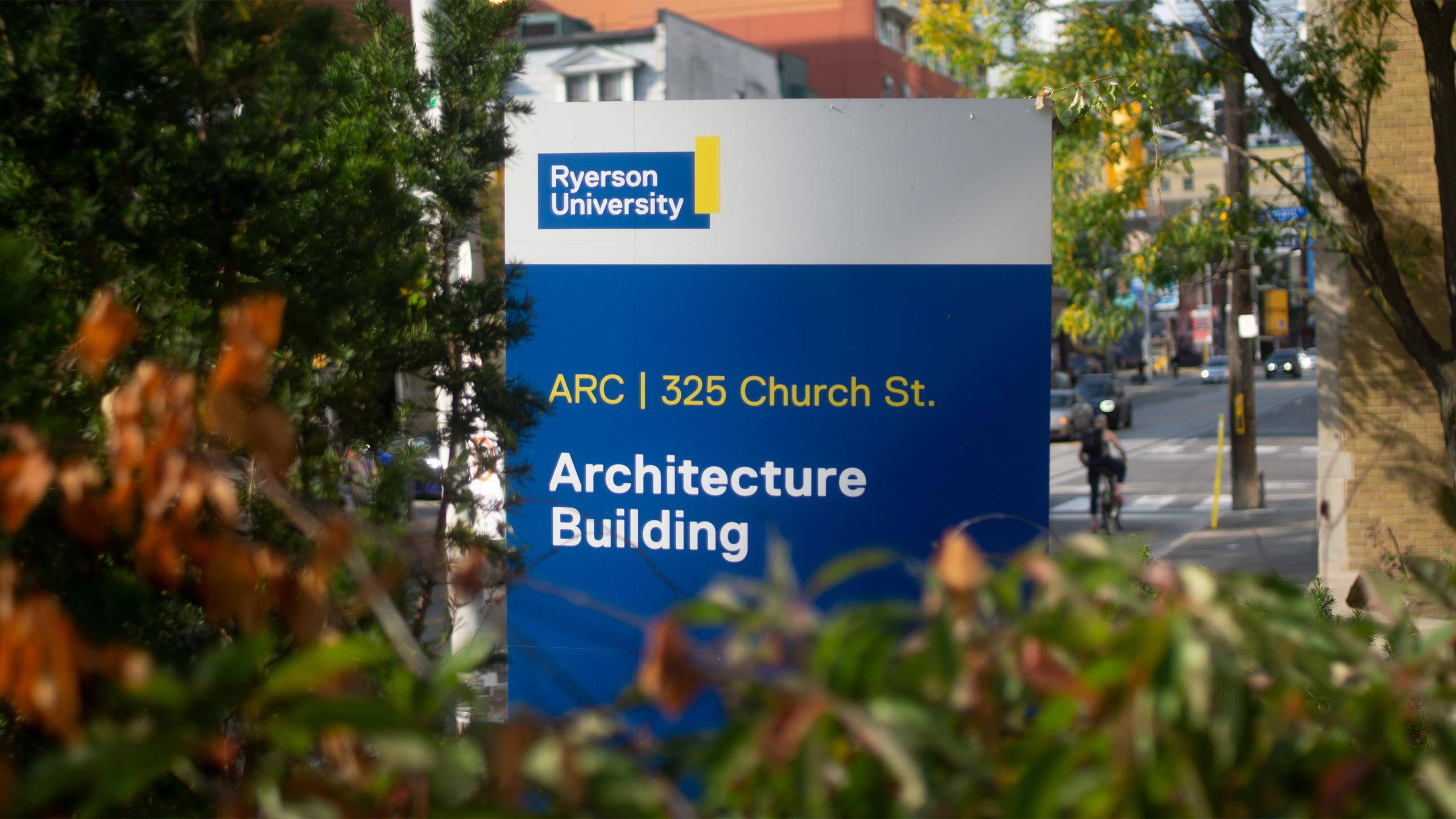 Photo of a Ryerson sign that says Architecture Building at 325 Church Street.
