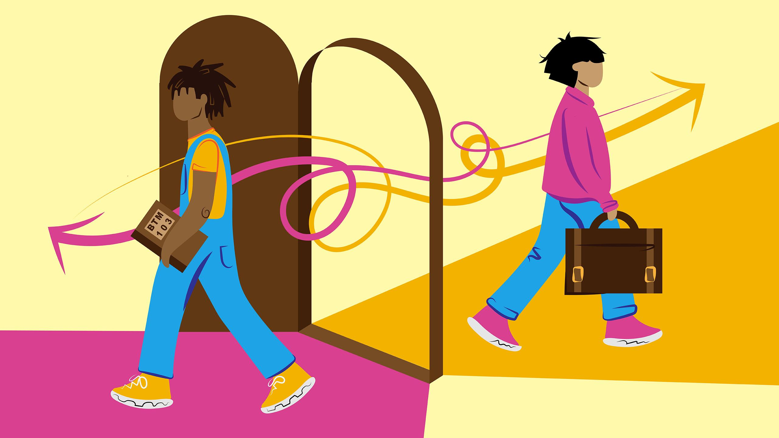 Illustration of a guy walking through an open door holding a textbook while a second person exits, walking in the opposite direction, holding a briefcase.