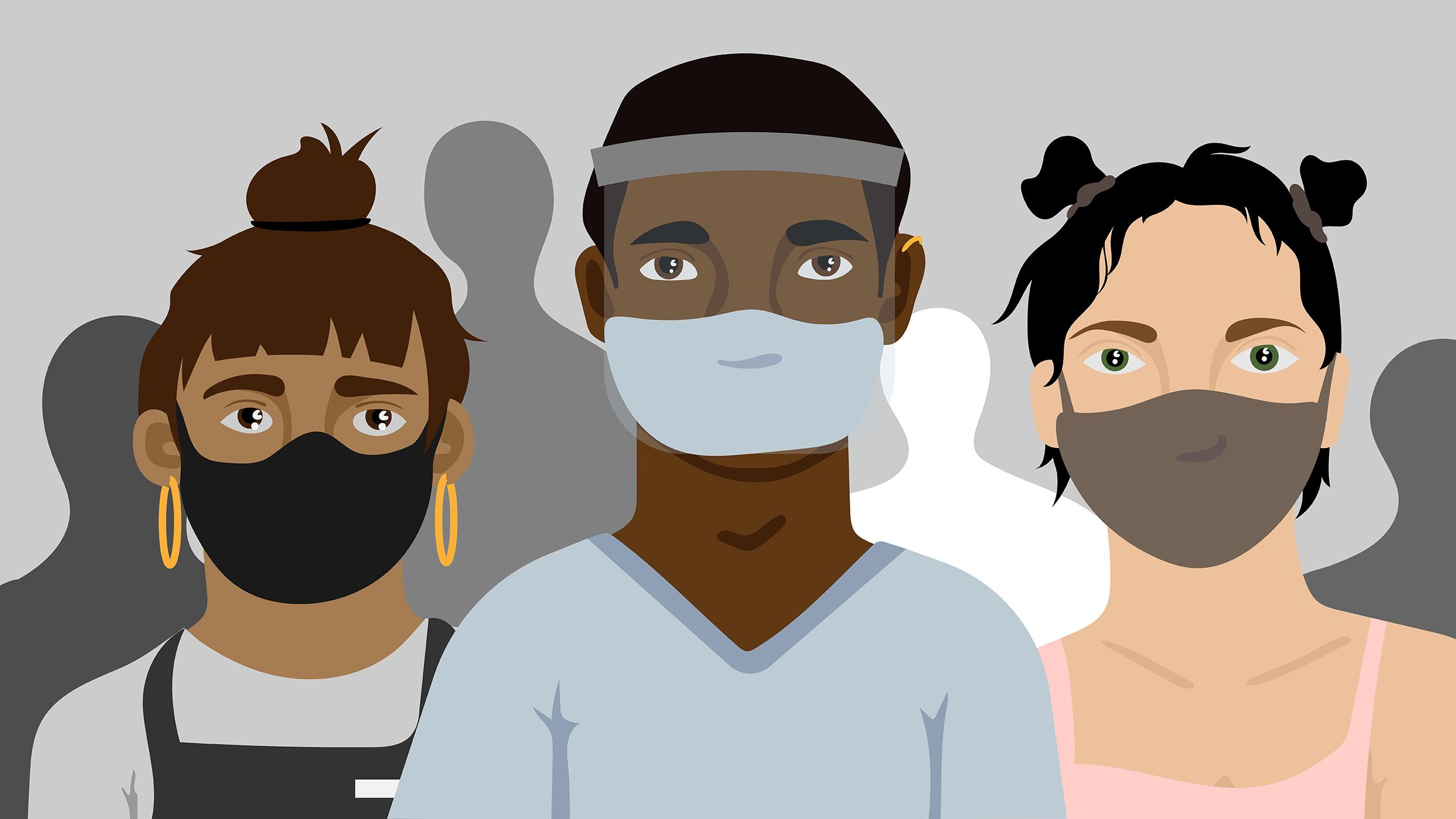 Illustration of three essential workers wearing masks and looking somber with silhouettes of people in the background.