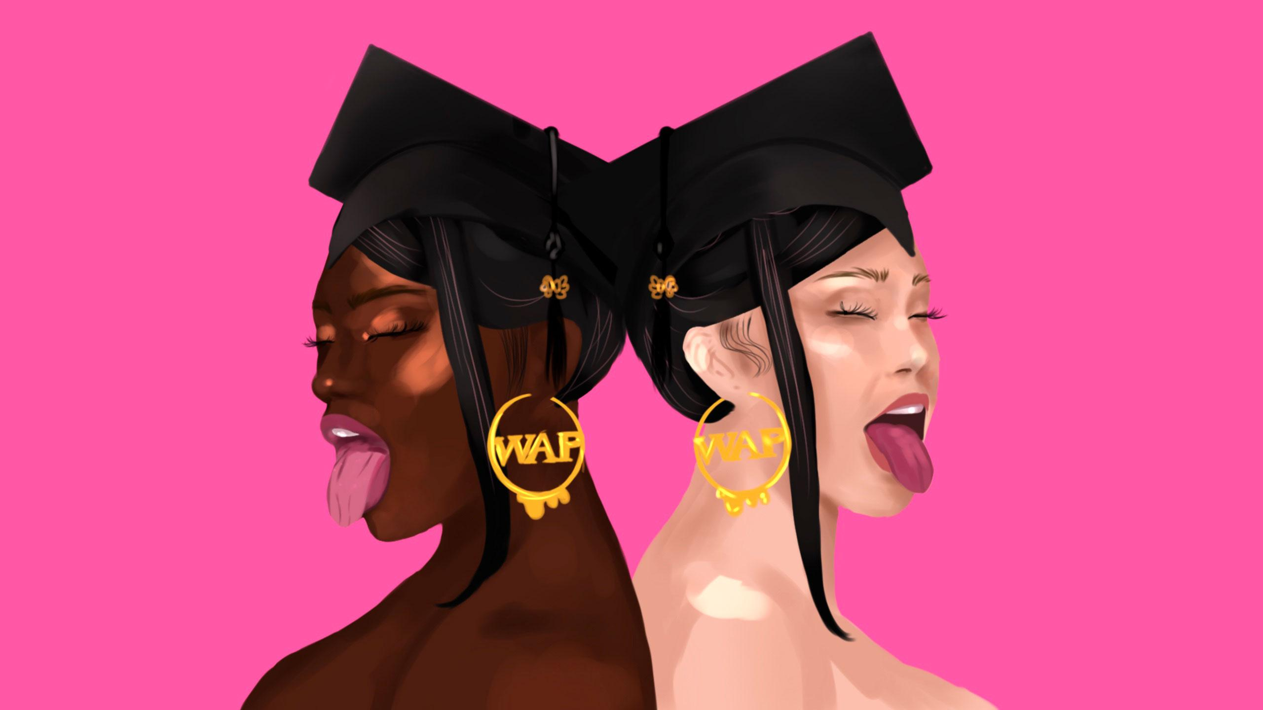 A recreation of the WAP cover album, with two girls standing back to back to each other, both wearing graduation caps.