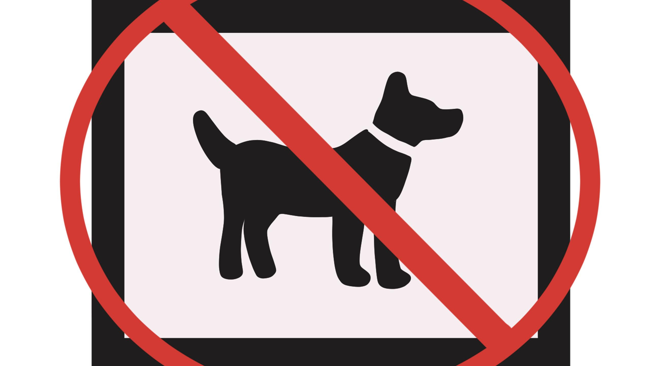 Illustration of a silhouette of a dog with a no symbol over it.