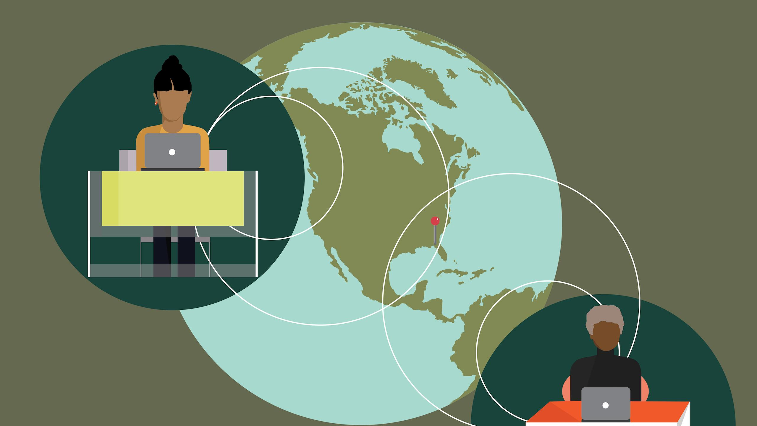 An illustration of two students on opposite sides of a globe. They are both sitting at desks working on their laptops.