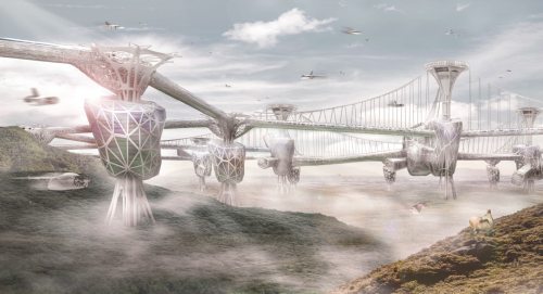 An futuristic airport terminal floating above ground.