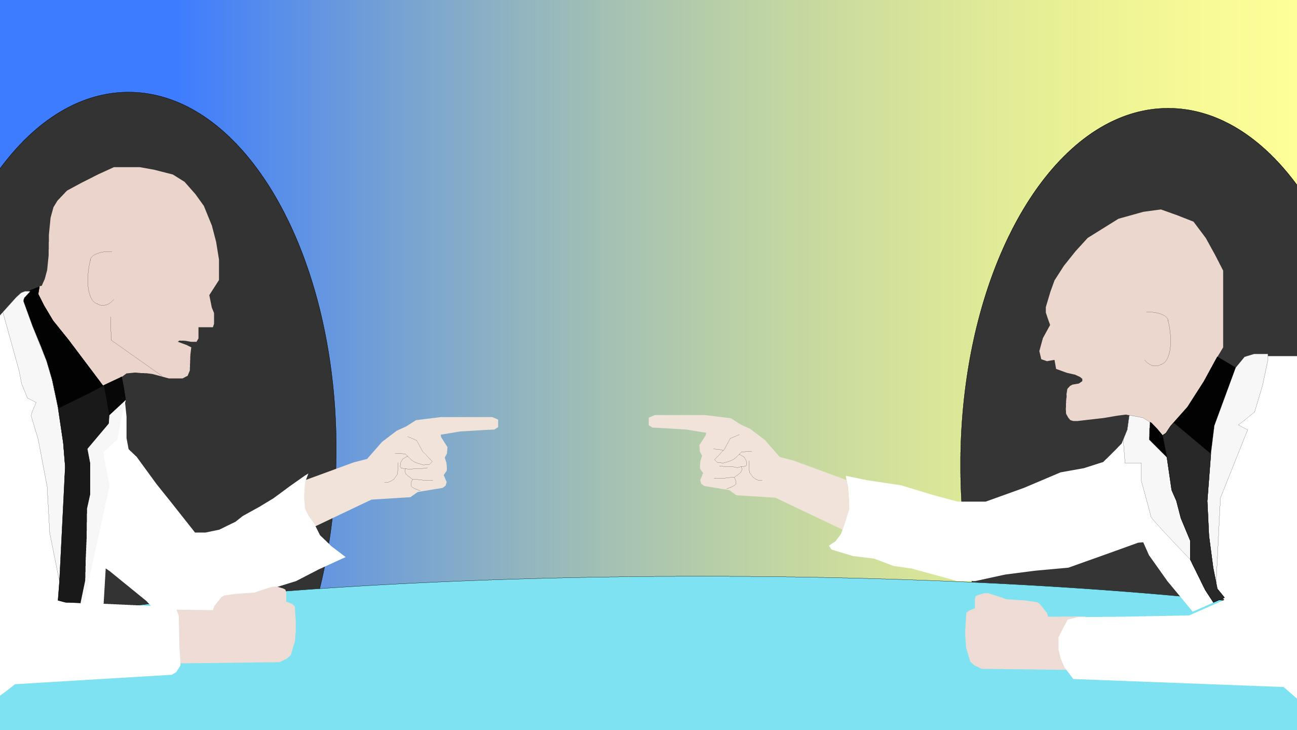 Illustration of two older white men pointing fingers at each other angrily at a conference table.
