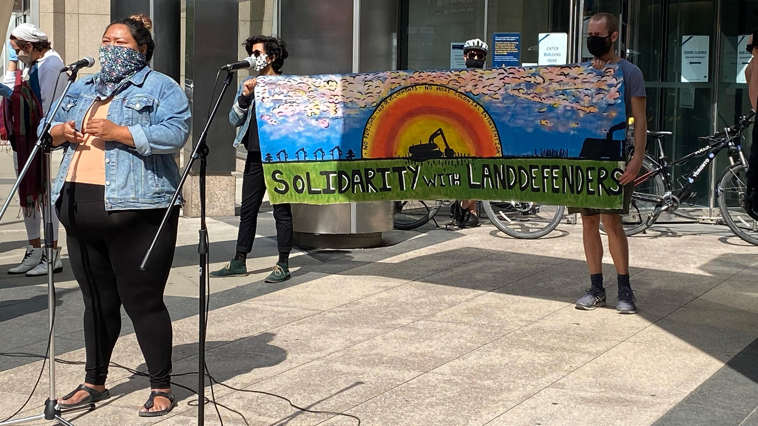 "Photo of a person wearing a bandana over their face speaking into a microphone outside. Behind them, there are two people holding a banner with a painting of a sunset and text that says ""solidarity with land defenders."""