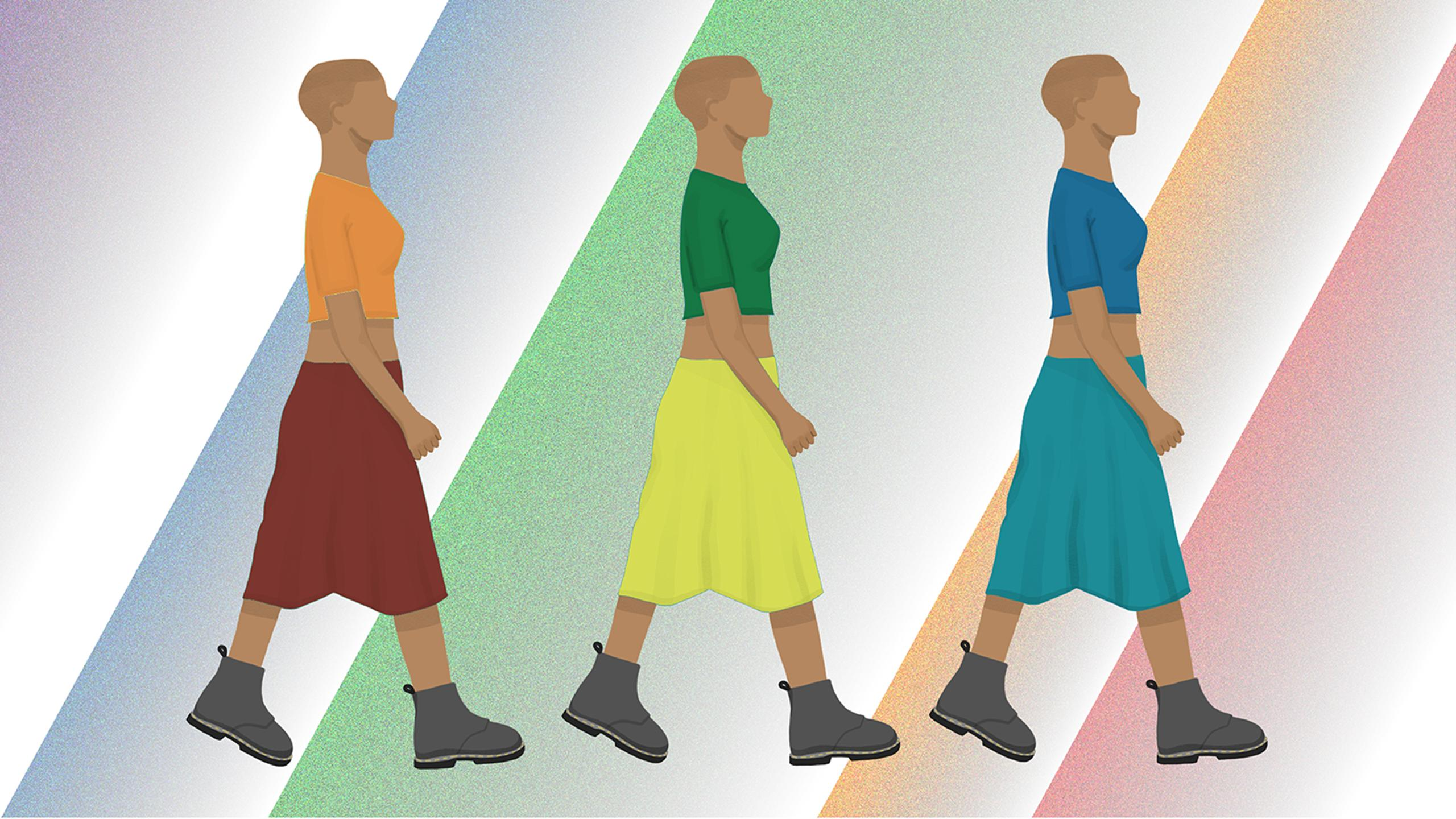 Femme person walking wearing 3 variations of the same outfit with the colours of the rainbow.
