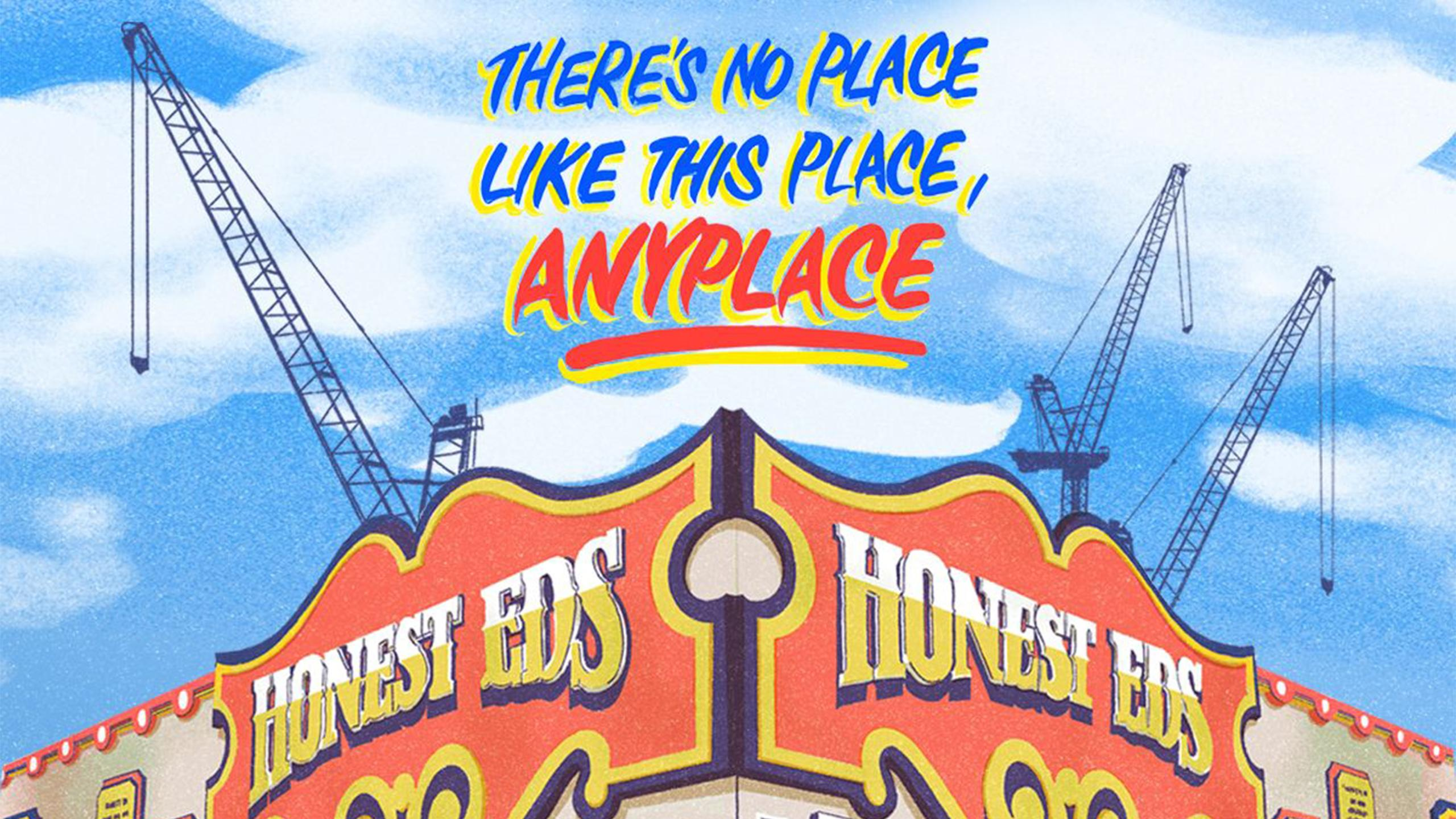 "Illustrated movie poster of Honest Eds department store with text that reads ""there's no place like his place, anyplace."""