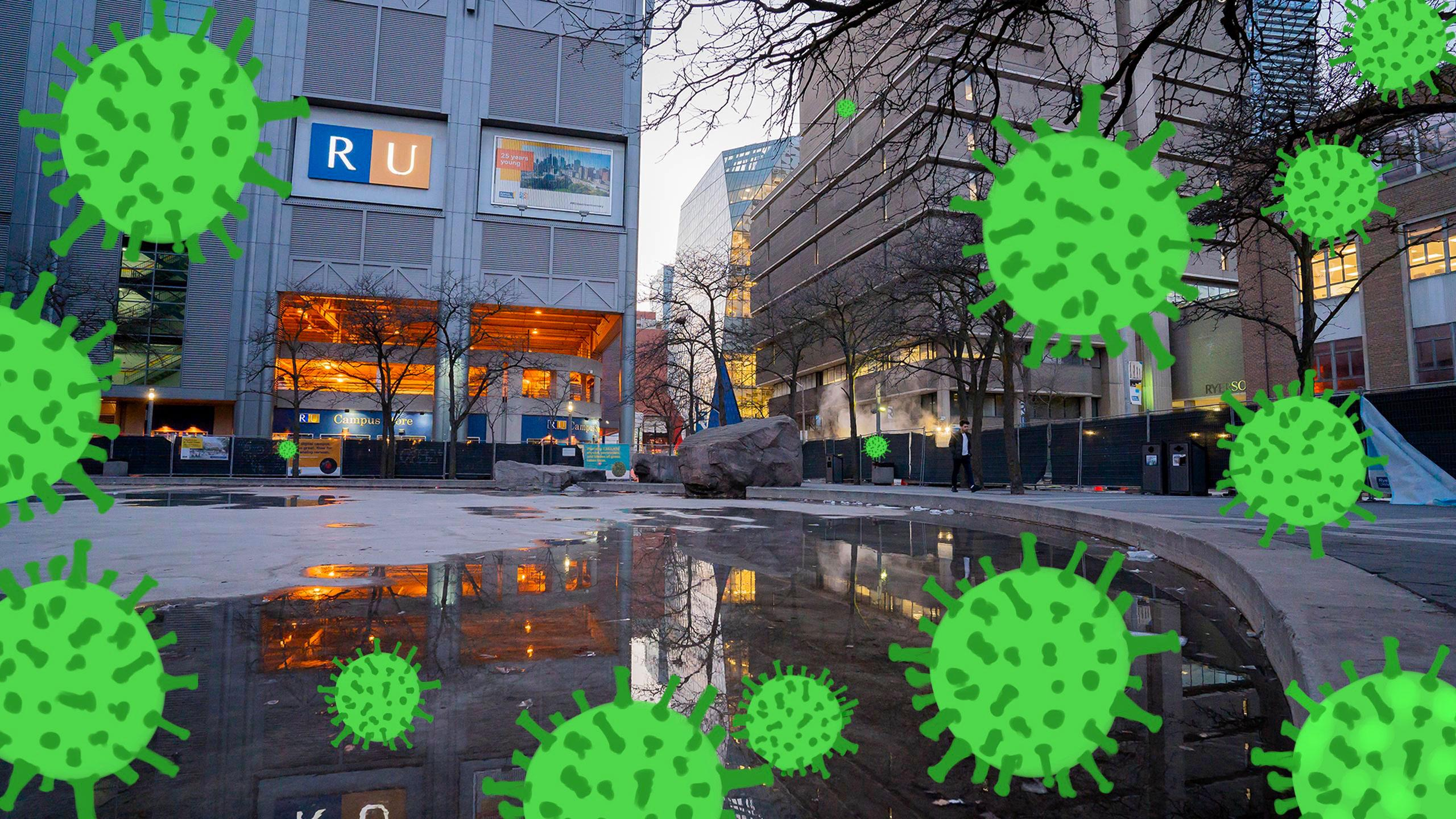 Ryerson Campus with illustrated virus's floating in the air.