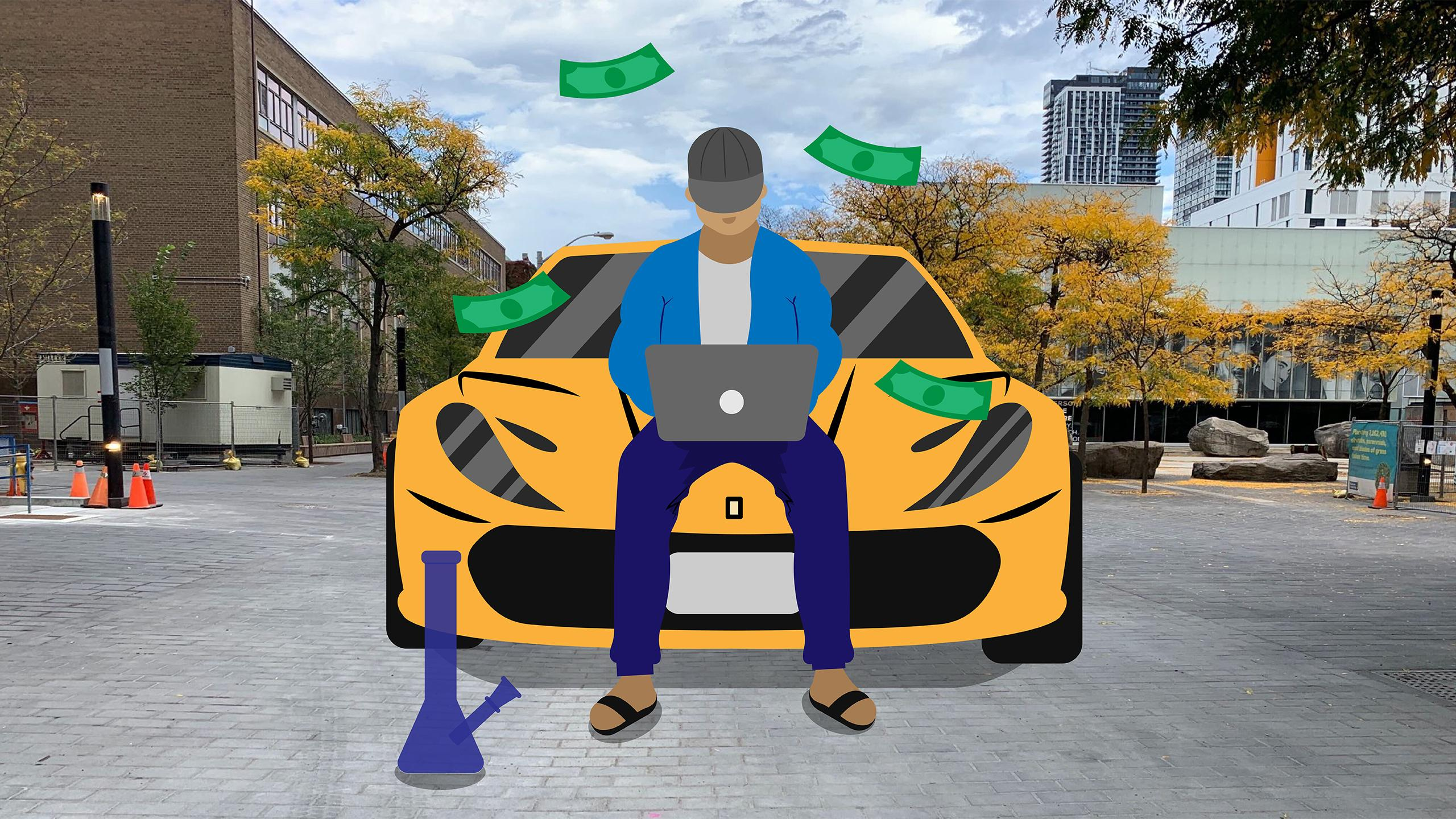 A man using his laptop sitting on the hood of a fancy sports car on Gould St. There is a bong at his feet and dollar bills around him.